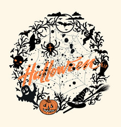 happy halloween background with orange vector image