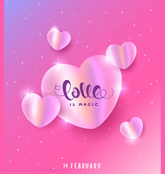 hearts pearly pink vector image