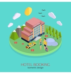 Hotel booking 3d isometric design concept vector image