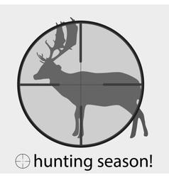 Hunting season with deer in gunsight eps10 vector