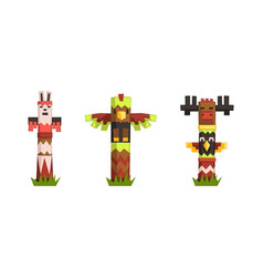 indian totem poles set colorful wooden ethnic vector image