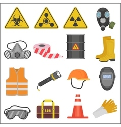 Industrial job work safety equipment flat icons vector image