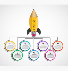 infographic design template rocket of a pencil vector image