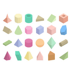 Isometric 3d geometric color shapes set vector