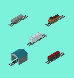 Isometric transport set of oil wagon train vector