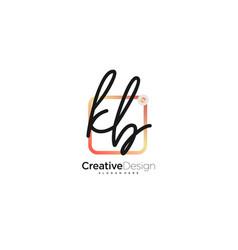 Kb initial letter handwriting logo art hand drawn vector