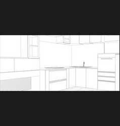 Kitchen sketch interior vector