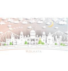 kolkata calcutta india city skyline in paper cut vector image