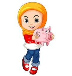 Little girl holding piggy bank vector