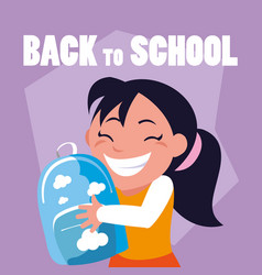little student girl with school bag vector image