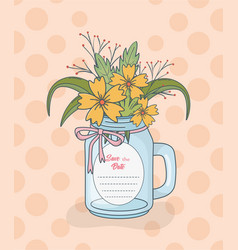 mason jar with floral decorations and save date vector image
