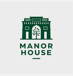 Modern professional logo manor house in green vector