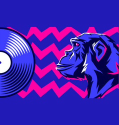 monkey and vinyl disc vector image