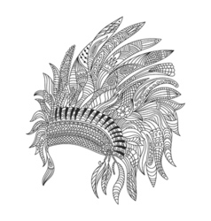 Monochrome hand drawn zentagle of Indian war vector