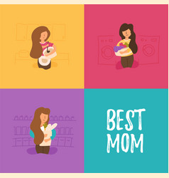 Mother prepares lunch and dinner vector