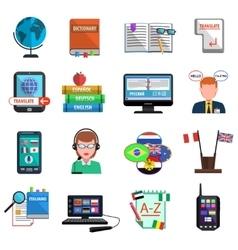 Multilanguage Translator Colorful Flat Icon Set vector