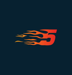 number 5 fire flame logo speed race design vector image