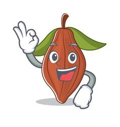 okay cacao bean character cartoon vector image