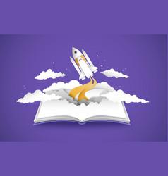 Open book 3d papercut space ship rocket vector