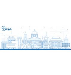 outline bern switzerland city skyline with blue vector image