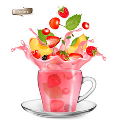pink berry tea splash whole and sliced vector image