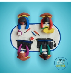 Plasticine modeling Office workers business vector