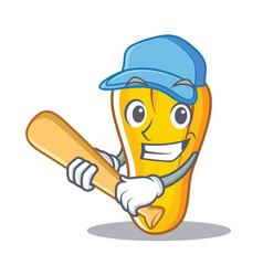playing baseball cashew character cartoon style vector image
