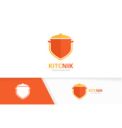 pot and shield logo combination kitchen vector image