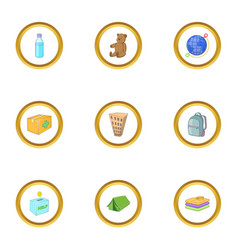 Refugees problem icons set cartoon style vector