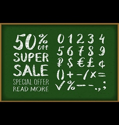 Sale 50 percent drawing on blackboard Numbers 0-9 vector