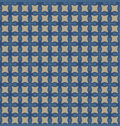 Seamless geometric pattern in blue and beige vector