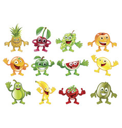 set colourful fruit character mascots vector image