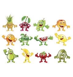 Set colourful fruit character mascots vector