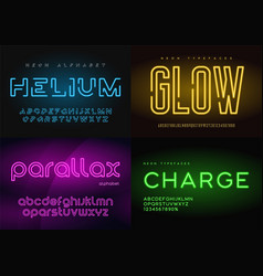 Set glowing neon typefaces alphabets vector