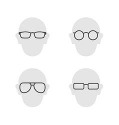 set glyph icons eyeglasses vector image
