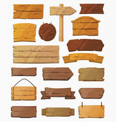 Set isolated pointers signs or wooden planks vector