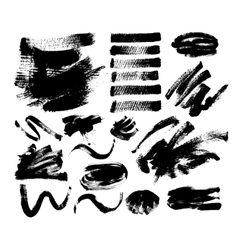 set of 20 black ink hand drawing brushes vector image