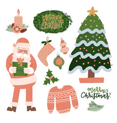 set of christmas decorations holiday gifts vector image