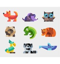 Set of flat design geometric animals icons vector image
