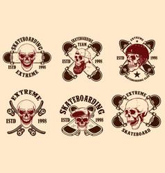 set skateboarding club emblems with skulls vector image