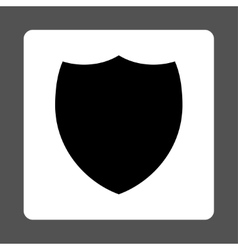 Shield flat black and white colors rounded button vector