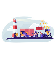 shipping port with harbor crane loading containers vector image