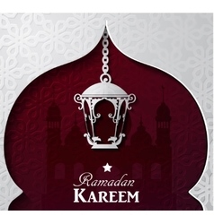 Silhouette of mosque greeting and paper light vector