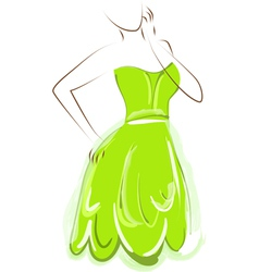 sketch girl green dress vector image