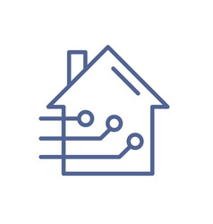 smart home icon in line art style simple sign vector image