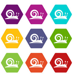 snail icons set 9 vector image