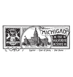 State banner of michigan the wolverine vector