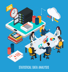statistical data analysis isometric background vector image