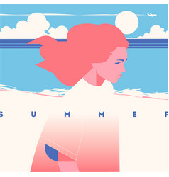 summer holiday and camp poster sea sunset vector image
