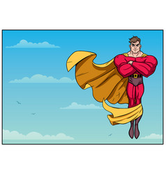 Superhero flying in sky horizontal vector